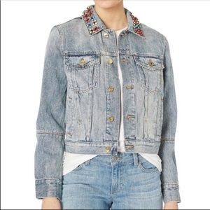 Juicy Couture Beaded Collar Jean Jacket Lg NWT